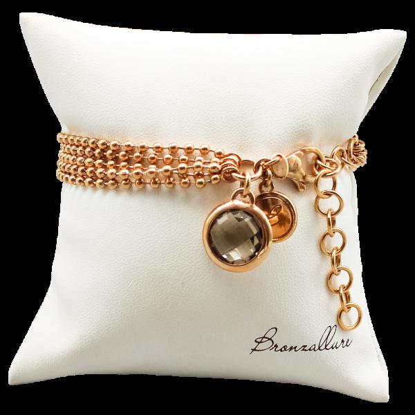 Bronzallure, Vierreihiges Armband mit Rauchquarz